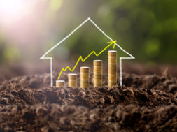 Money growing in soil with house , success concept.